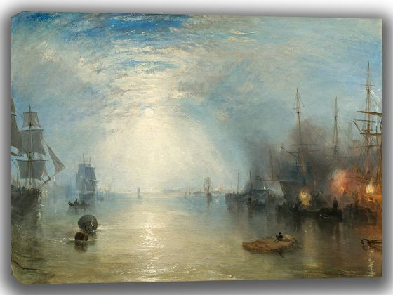 Turner, Joseph Mallord William: Keelmen Heaving in Coals by Moonlight. Fine Art Canvas. Sizes: A4/A3/A2/A1 (003542)